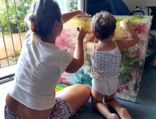 Video in time lapse del quadro eseguito con bambina di 2 anni e mezzo